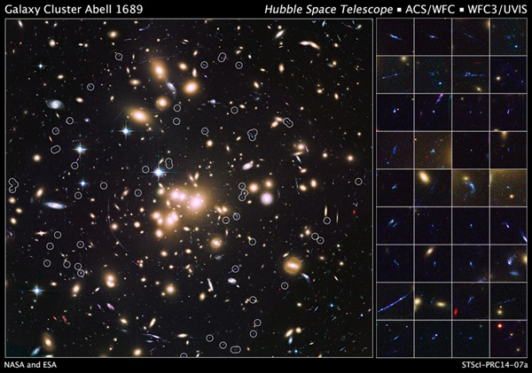 Abell 1689 distant galaxies