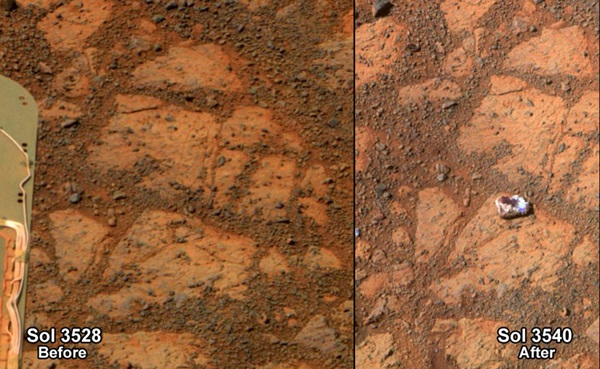 A martian rock named Pinnacle Island appeared in front of Opportunity on Murray Ridge
