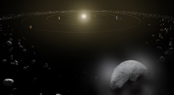 Dwarf planet Ceres is located in the main asteroid belt, between the orbits of Mars and Jupiter.