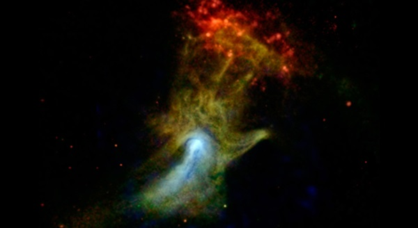 Cloud of material in the shape of a hand is ejected from a star that exploded
