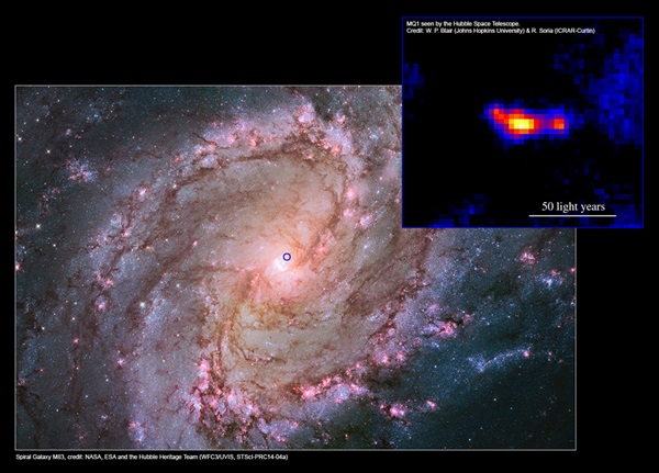 Spiral galaxy M83 and the MQ1 system with jets