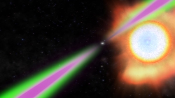 Spinning 390 times a second, PSR J1311−3430 periodically swings its radio (green) and gamma-ray (magenta) beams past Earth.