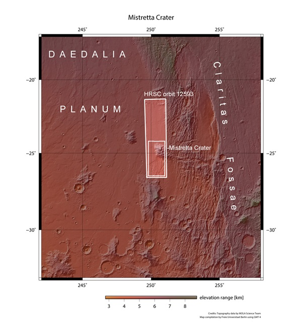 Daedalia Planum and Mistretta Crater in context