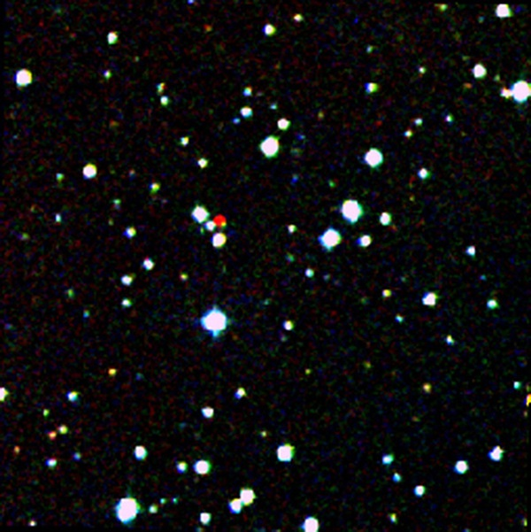 A nearby star stands out in red in this image from the Second Generation Digitized Sky Survey.