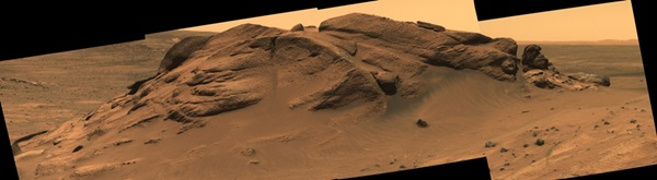 Comanche outcrop, seen in a mosaic of panoramic camera images from Mars rover Spirit.