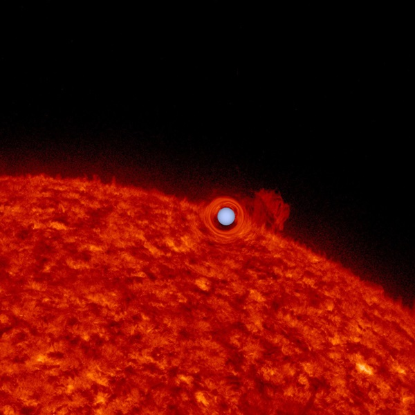 An image of the Sun used to simulate what the sun-like star in a self-lensing binary star system might look like.