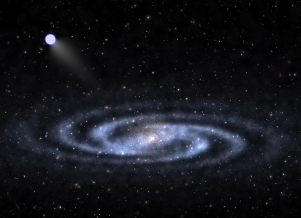 "An astrophysicist-artist's conception of a hypervelocity star speeding away from the visible part of a spiral galaxy like our Milky Way and into the invisible halo of mysterious ""dark matter"" that surrounds the galaxy's visible portions."
