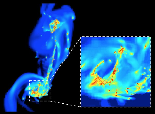 "A frame from the simulation of the two colliding ""Antennae"" galaxies."
