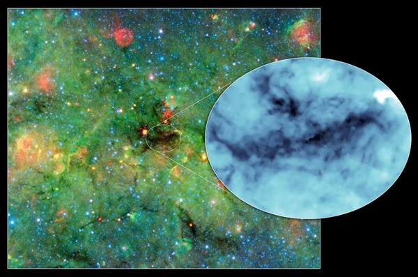 Astronomers have found cosmic clumps so dark, dense, and dusty that they throw the deepest shadows ever recorded.