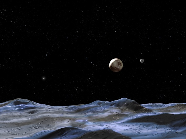 Pluto and moons (Charon on right)