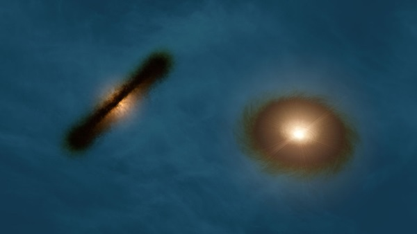 Artist's impression of the disks around the young stars HK Tauri A and B.
