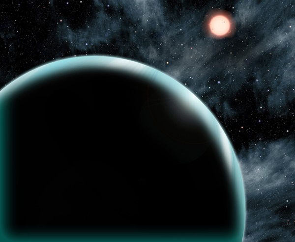 This artist's conception shows the Uranus-sized exoplanet Kepler-421b, which orbits an orange, type K star about 1,000 light-years from Earth.