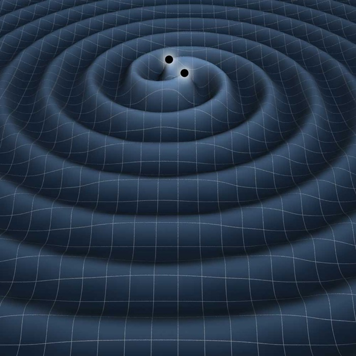An illustration of the gravitational waves generated by two black holes in orbit around one other.