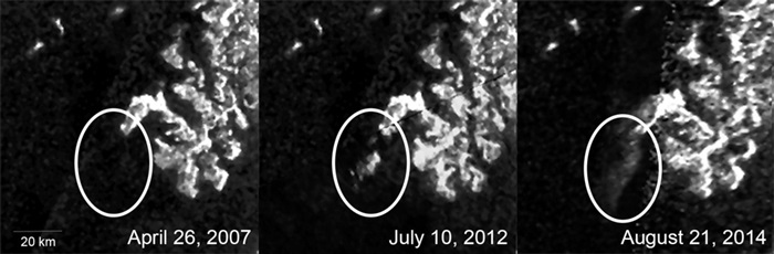 These three images show the appearance and evolution of a mysterious feature in Ligeia Mare, one of the largest hydrocarbon seas on Saturn's moon Titan.