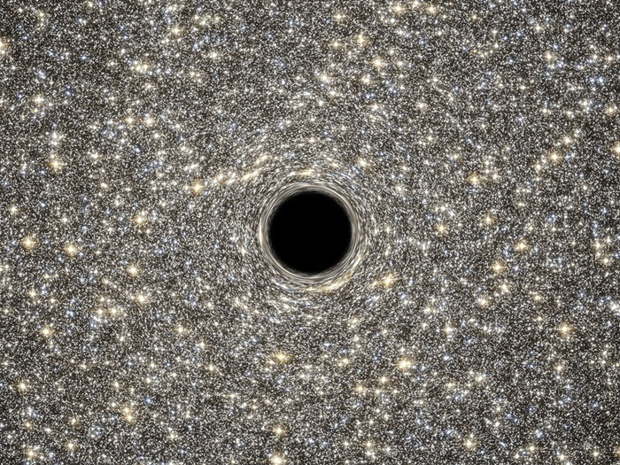 Artist's concept of supermassive black hole within M60-UCD1.