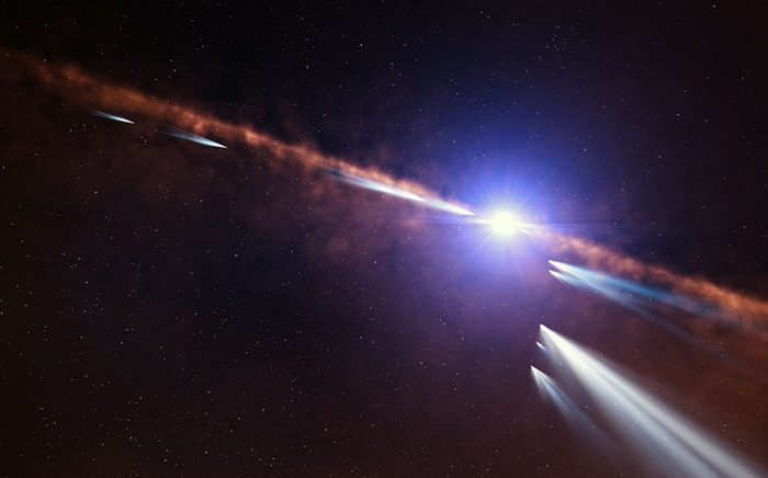 Artist's impression of exocomets around Beta Pictoris