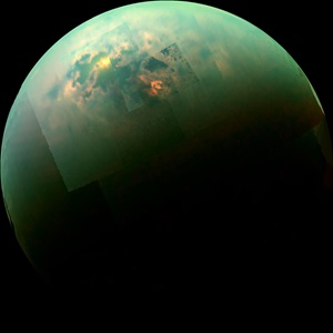 Cassini shows the Sun glinting off of Titan's north polar seas.