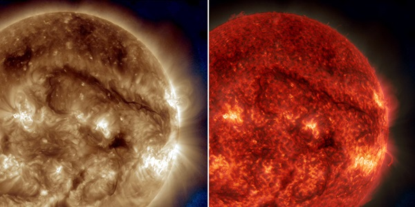 A dark snaking line in the upper right of these images on Sept. 30, 2014, show a filament of solar material hovering above the Sun's surface.