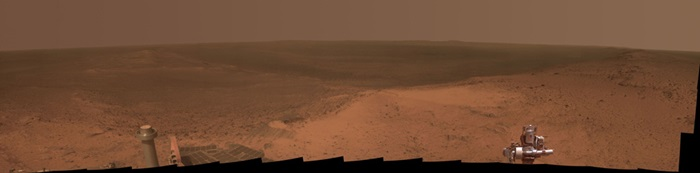 Hilltop panorama on Mars