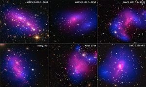 Six Cluster Collisions, with Dark-Matter Maps
