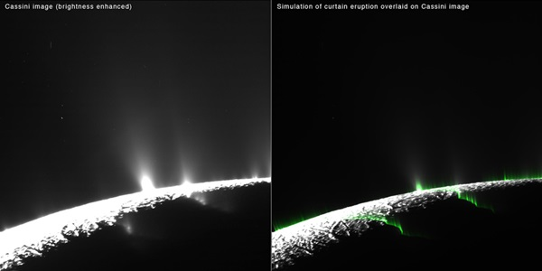 Icy curtain eruptions on Enceladus create an illusion of discrete jets.