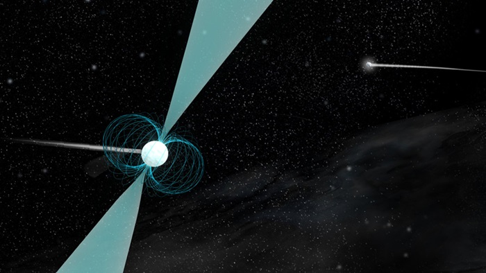 Artist's impression of pulsar PSR J1930-1852 shown in orbit around a companion neutron star.