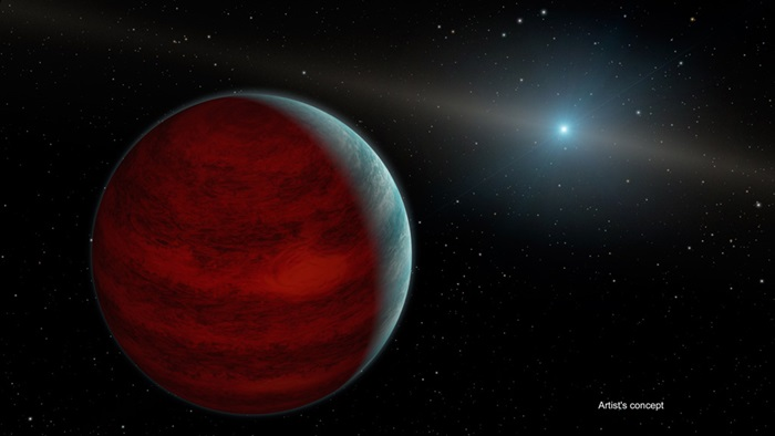 "This artist's concept shows a hypothetical ""rejuvenated"" planet — a gas giant that has reclaimed its youthful infrared glow."