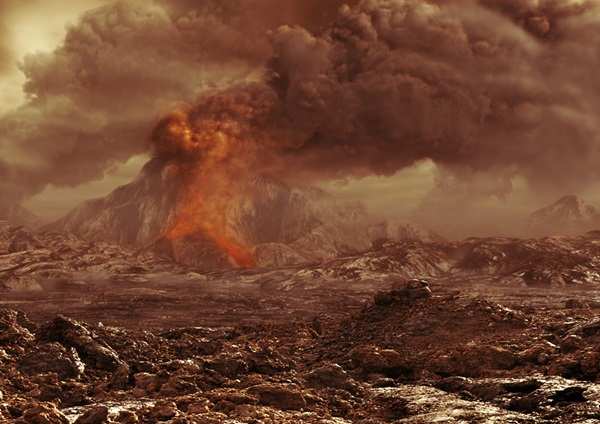 Artist's impression of volcanic activity on Venus