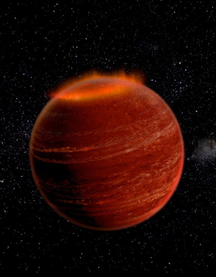 Artist conception of an aurora over the polar region of a brown dwarf.