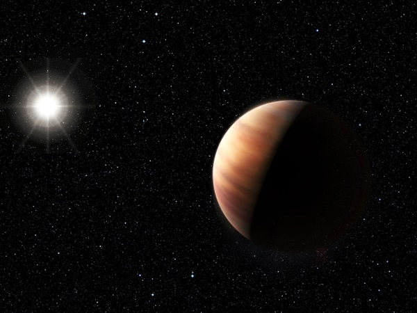 An artist's impression showing a newly discovered Jupiter twin gas giant orbiting the solar twin star, HIP 11915.