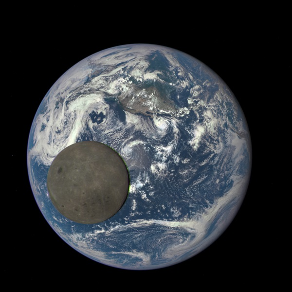 DSCOVR image of the Moon crossing Earth's face