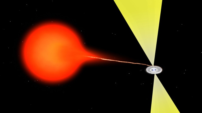 Material flowing from a companion star onto a neutron star