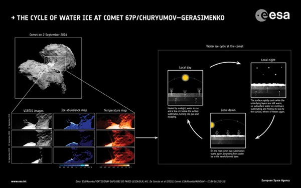 Water-ice cycle of comet