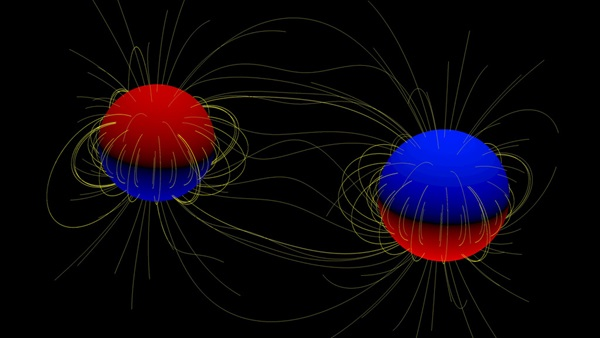 A cartoon of two giant stars in a binary system.