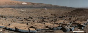 A view from the Kimberley formation looking south. The strata in the foreground dip towards the base of Mount Sharp.