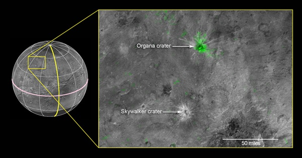 Organa and Skywalker craters on Charon - annotated