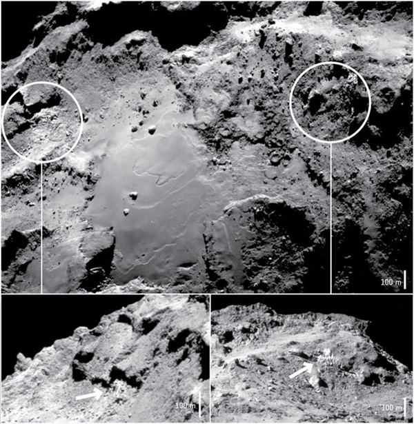 Two exposures of water ice identified by Rosetta's VIRTIS instrument in the Imhotep region of Comet 67P/Churyumov–Gerasimenko.