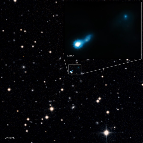 A jet from a distant black hole, called B3 0727+409, has been found using the Chandra X-ray Observatory.