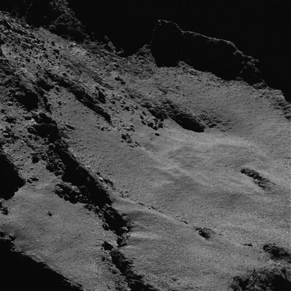 Close-up view of Comet 67P