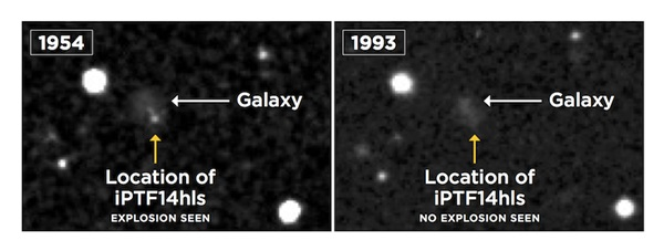 1ba6f07a9 An image taken by the Palomar Observatory Sky Survey reveals a possible  explosion in 1954 at the exact location of iPTF14hls (left). It is not seen  in the ...