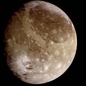 Jupiter's moon Ganymede, imaged by NASA's Galileo spacecraft