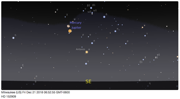 Mercury and Jupiter cross paths in the predawn sky during