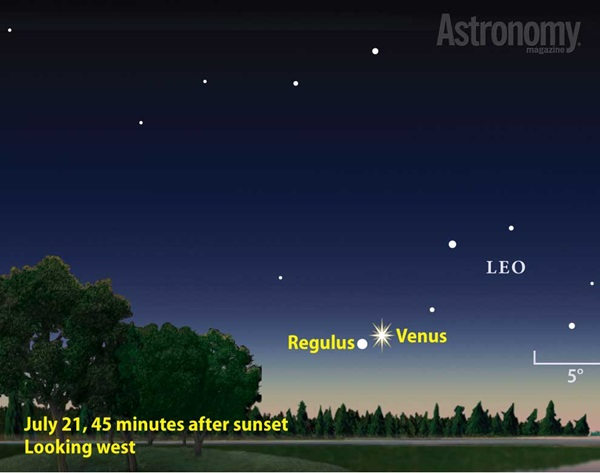 Venus and Regulus conjunction finder chart