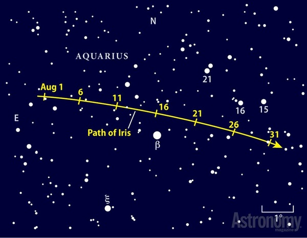 August 2013 path of Iris finder chart