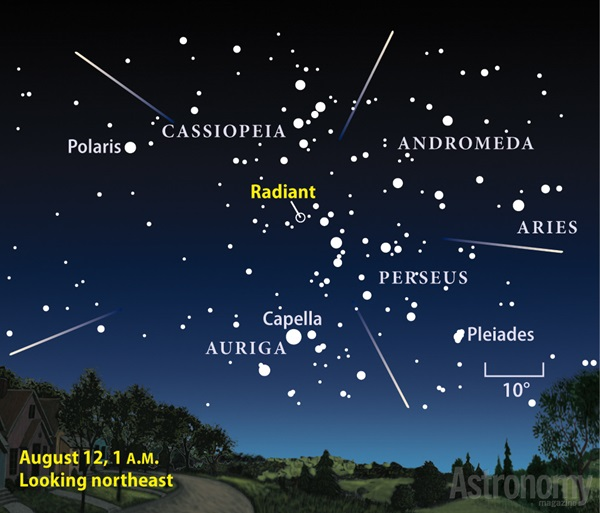 August 2013 Perseid meteor shower finder chart