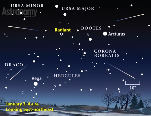 2014's finest meteor shower will occur on January 3