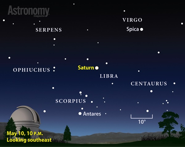 Saturn reaches opposition and peak visibility May 10, 2014.