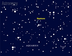 Neptune shows up nicely through binoculars and telescopes in late August 2014.