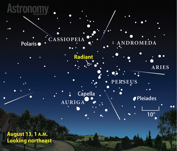 A bright Moon shares the sky with this year's Perseid meteor shower.