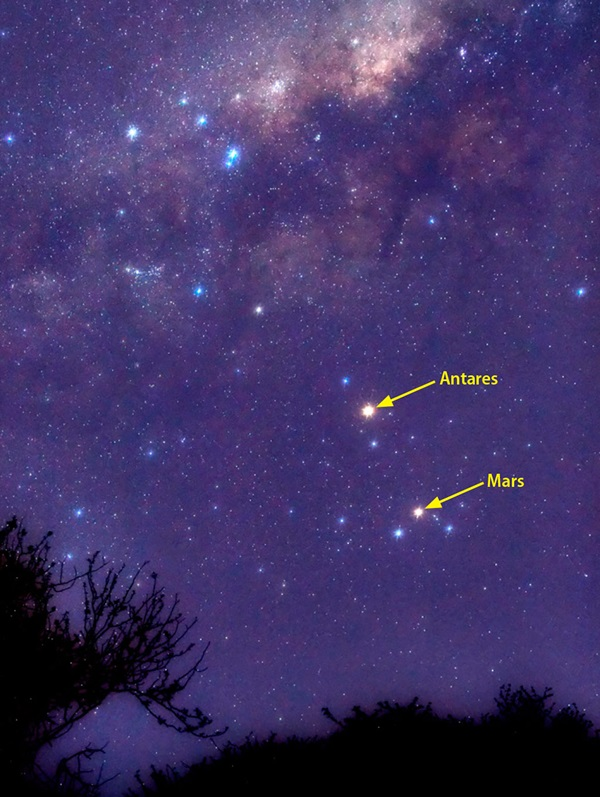 Mars and Antares in Scorpius during October 2012.